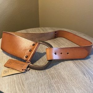 LINEA PELLE D Ring Leather Belt Cognac M